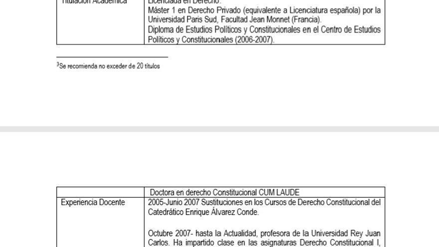 Imagen del currículo que aparece en la guía docente de la asignatura de derechos fundamentales de la URJC.