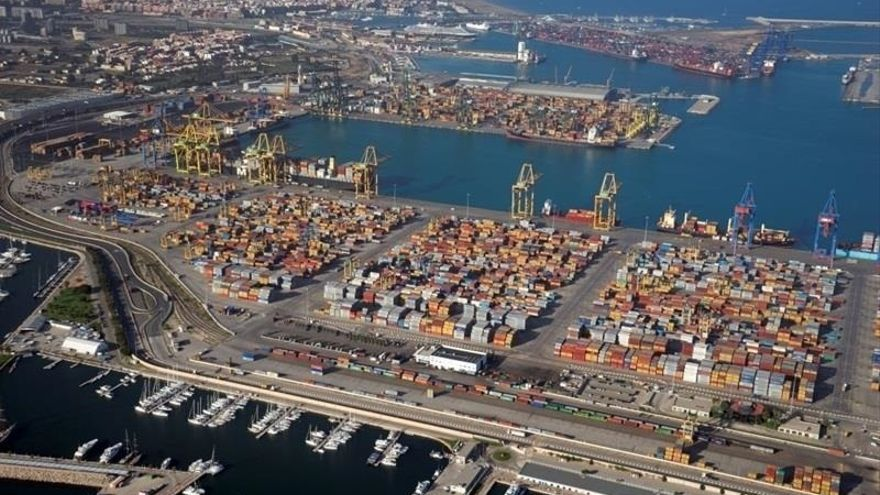 Una vista aérea del Puerto de Valencia