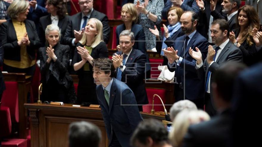 Trudeau, primer jefe de Gobierno de Canadá que habla en el Parlamento francés