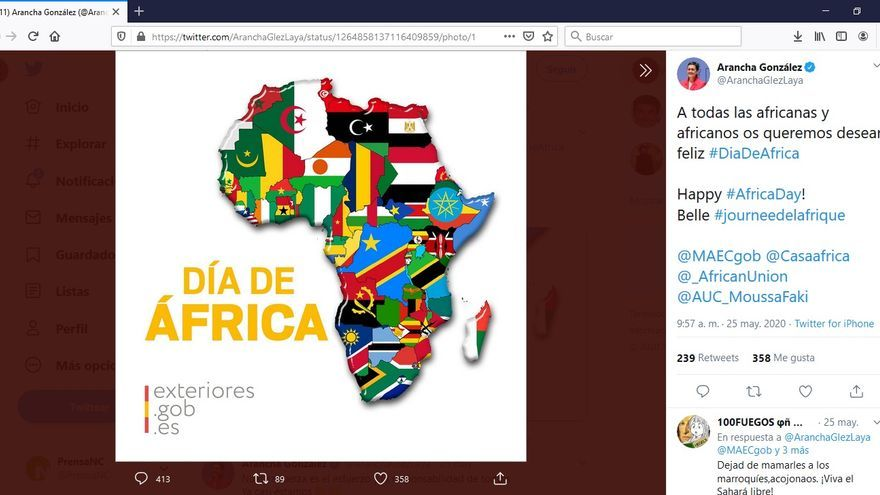 Captura del mensaje publicado en redes por la ministra de Asuntos Exteriores, Arancha González Laya, por el Día de África