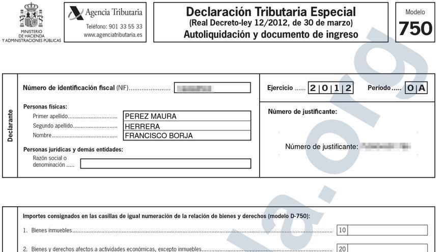 Declaración Tributaria Especial (DTE) presentada por Borja Pérez-Maura para declarar su patrimonio oculto