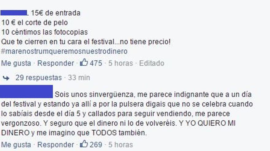 Mensajes de los usuarios en el muro de Facebook del festival