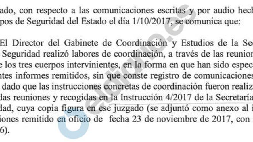 Informe de Interior aportado al juzgado