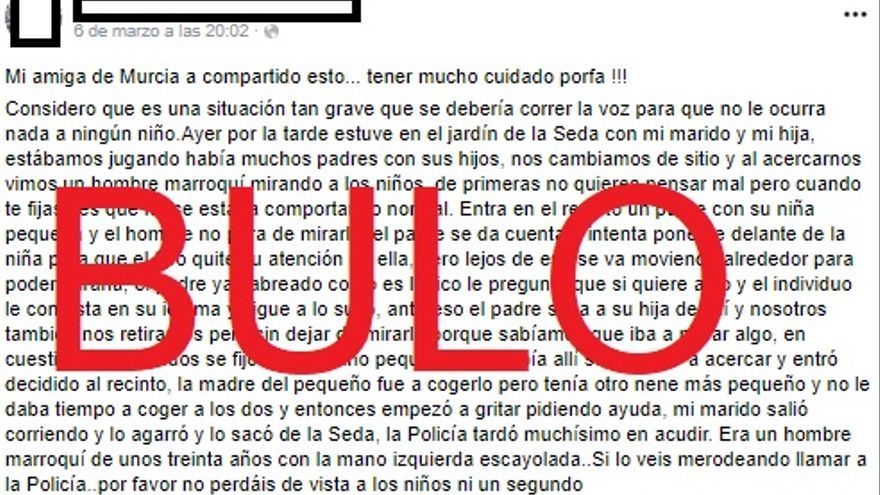 No, no hay pruebas de que un hombre marroquí haya intentado secuestrar a un niño en el Jardín de la Seda (Murcia)