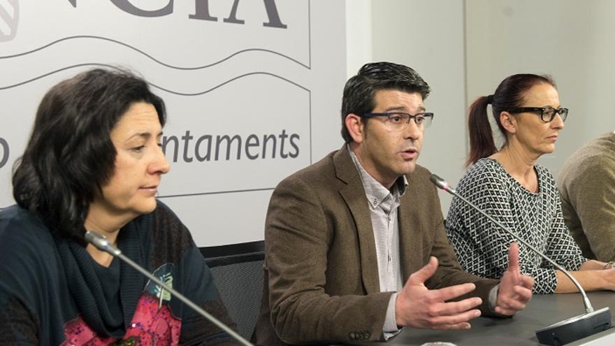 Rosa Pérez Garijo (EU), Jorge Rodríguez (PSPV) y Maria Josep Amigó (Compromís)