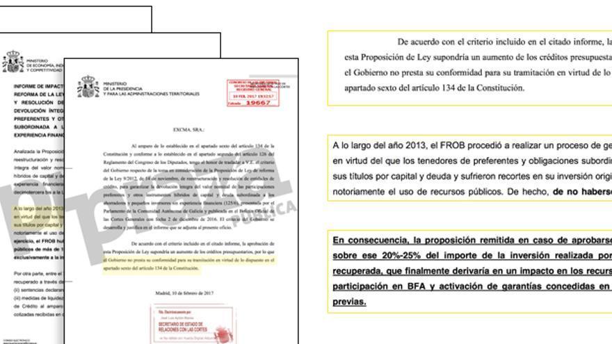Fragmentos del informe remitido por el Gobierno al Congreso para vetar la ley gallega