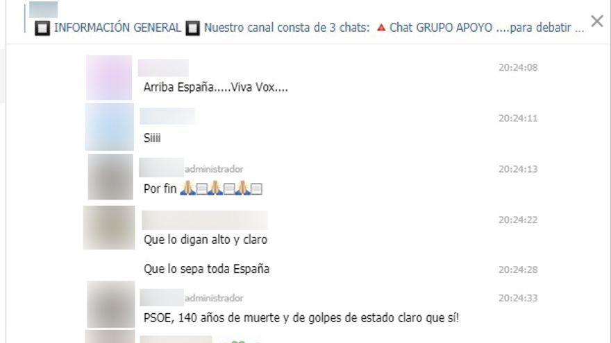 "Pantallazo del grupo de ""grupo de apoyo"" a Vox en Telegram"