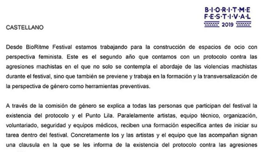 Comunicado del festival