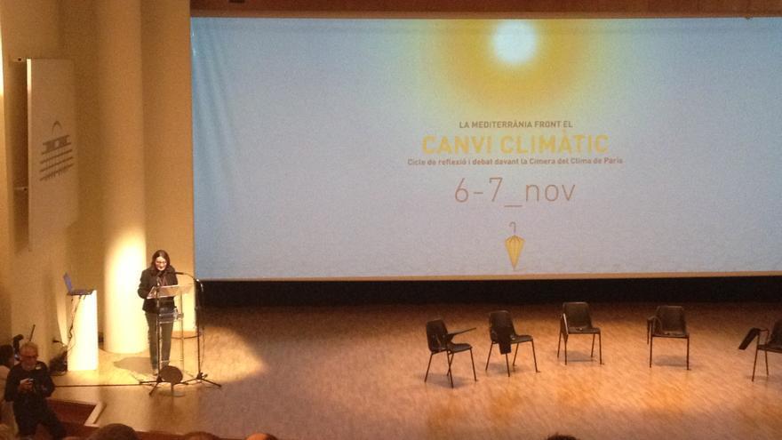 La vicepresidenta del Consell, Mónica Oltra, en la apertura de las jornadas sobre el cambio climático.
