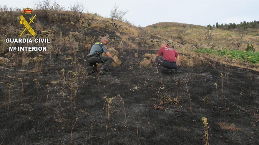 Superficie quemada en Las Lagunetas, Gran Canaria, tras una imprudencia