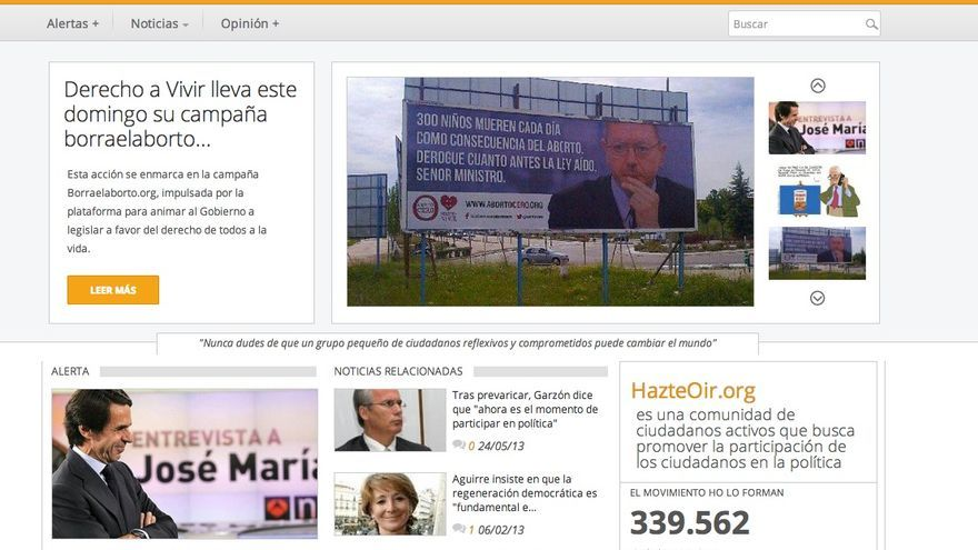 Portada del site de Hazteoir.org