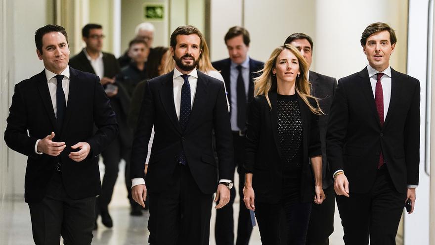 De izquierda a derecha, Teodoro García Egea, Pablo Casado, Cayetana Álvarez de Toledo y Pablo Montesinos.