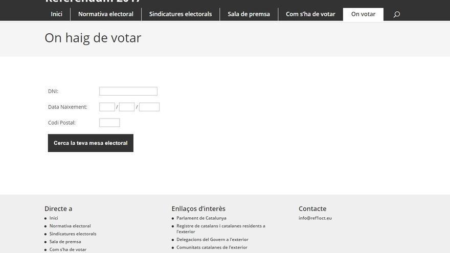 Aparto de la web del referéndum que informa de los lugares de votación
