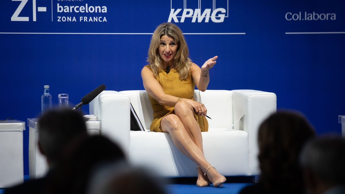 La vicepresidenta tercera y ministra de Trabajo, Yolanda Díaz, en el debate 'Transformación del modelo económico en nombre de una mayor productividad' de la Reunión Anual del Cercle d'Economia.