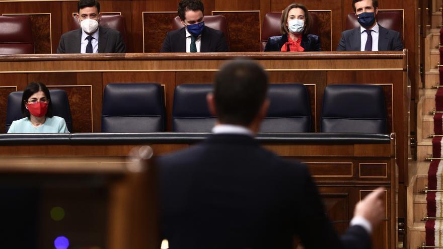 El presidente del Gobierno, Pedro Sánchez, interviene durante una sesión de Control al Gobierno en el Congreso de los Diputados, en Madrid, (España), a 17 de marzo de 2021.