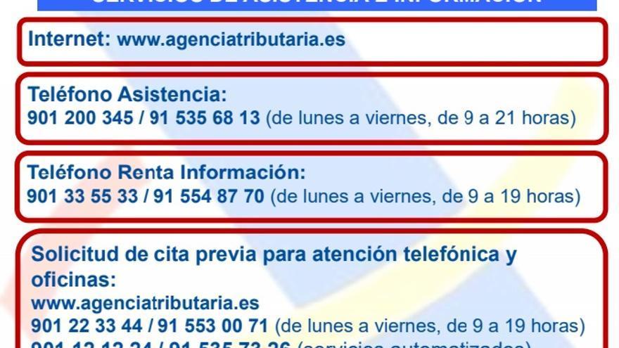 Teléfonos de cita previa y asistencia de la Agencia Tributaria