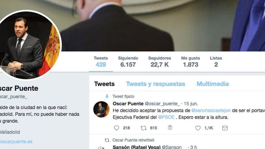 La cuenta de Twitter de Óscar Puente, sin todos los tuits borrados