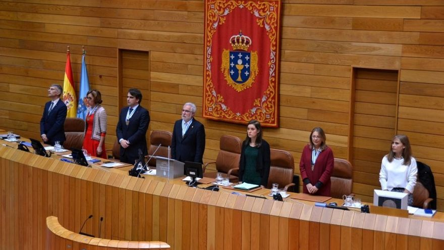 Santalices (centro), con el resto de la mesa de la Cámara en la apertura de la legislatura