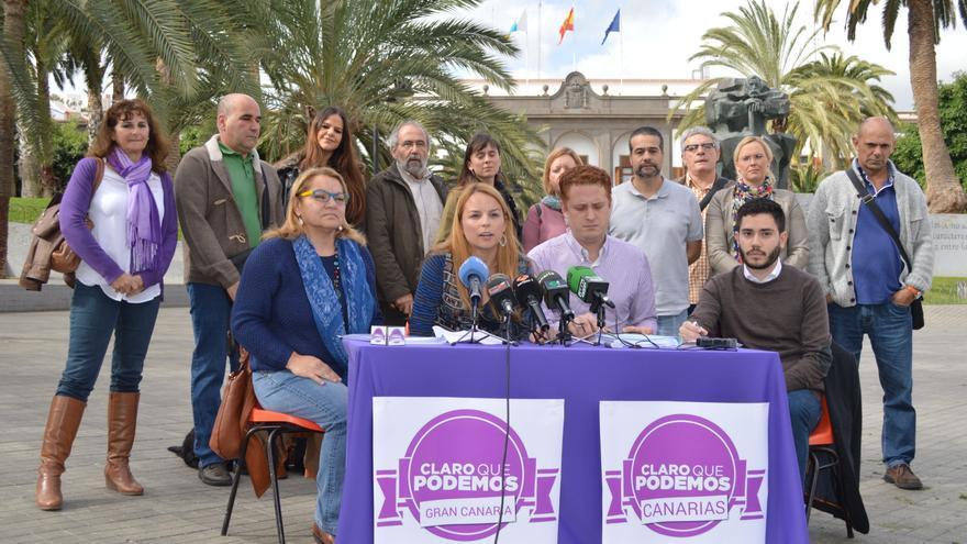 Mery Pita, Noemí Santana, Alejandro Pérez y Eduardo Torres en la presentación de Claro que Podemos Canarias y Claro que Podemos Gran Canaria. FOTO: Iago Otero Paz.