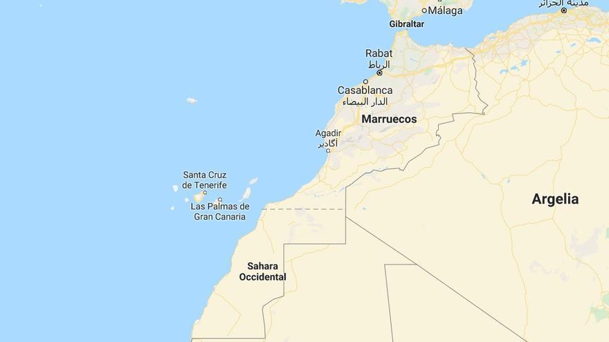 Mapa de la situación geográfica de Marruecos.
