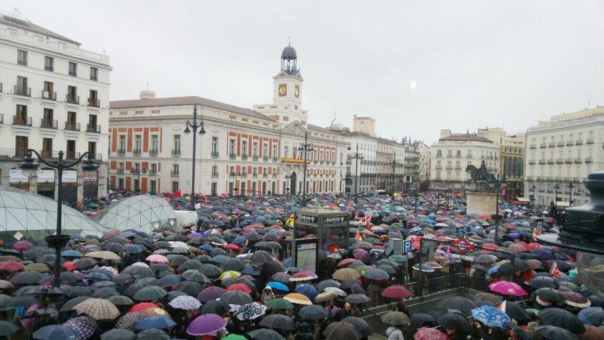 Manifestación en la Puerta del Sol a favor de las pensiones