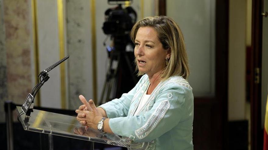 La diputada de CC en el Congreso, Ana Oramas en su comparecencia ante los medios de comunicación para valorar el discurso de investidura del presidente del Gobierno en funciones. EFE/Emilio Naranjo