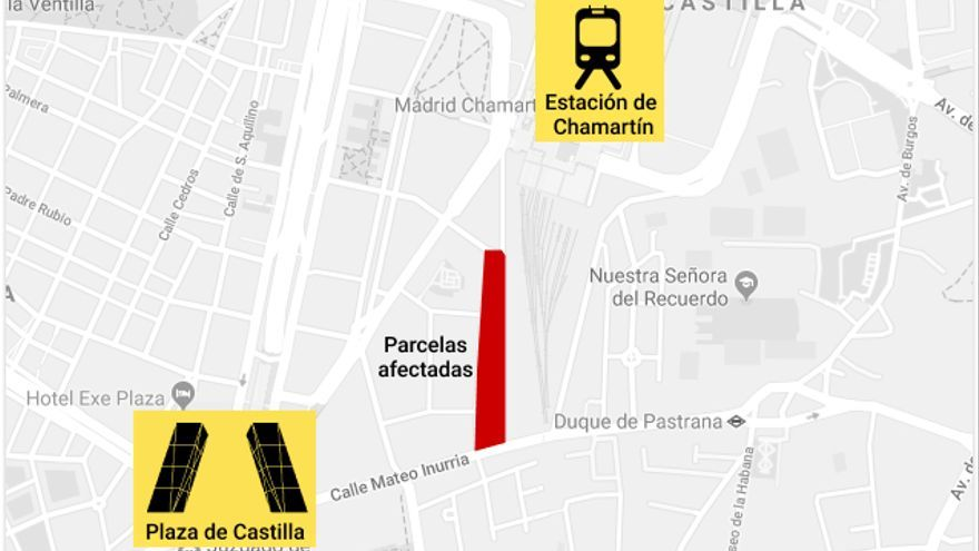 Mapa de las parcelas afectadas, en el entorno de la Operación Chamartín