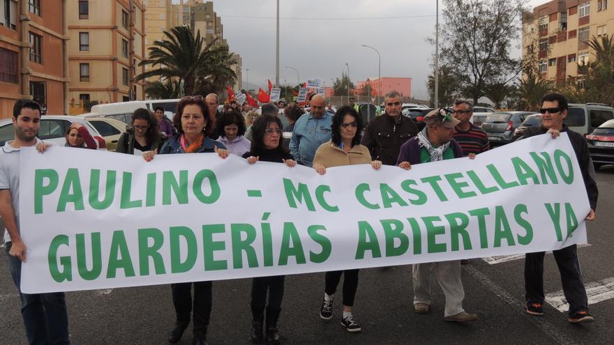 Manifestación por la reapertura de las guarderías de Telde