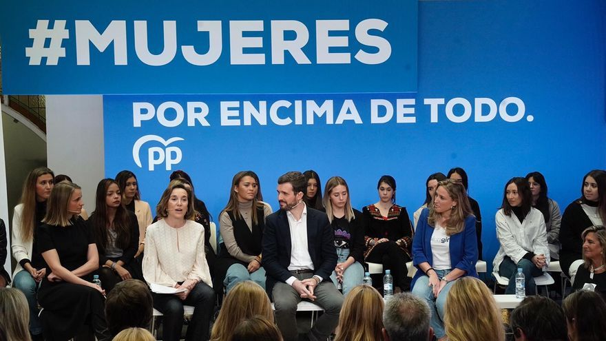 Pablo Casado, este viernes, durante un acto del PP con motivo del 8M.