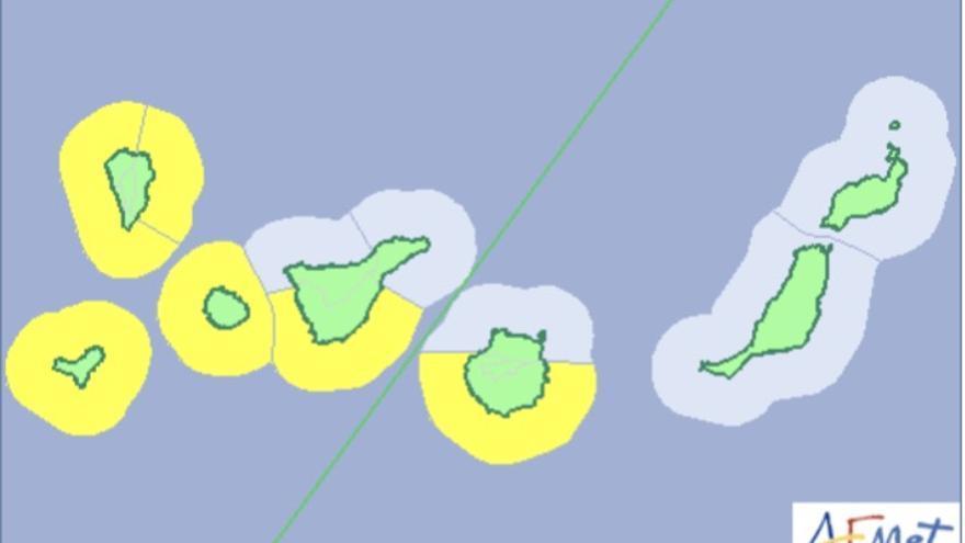Mapa de la Aemet del aviso de riesgo por fenómenos costeros para este lunes, 9 de abril.