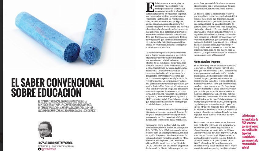 Reportaje de José Saturnino Martínez en la revista de eldiario.es sobre Educación