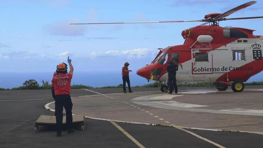 Llegada del helicóptero.