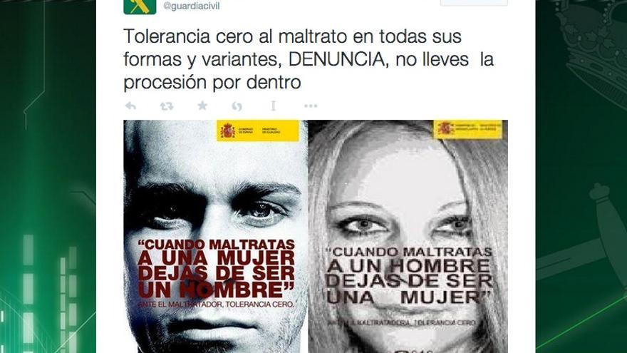 Mensaje en Twitter de la Guardia Civil sobre violencia de género.