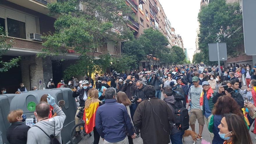 Imagen de la concentración de este miércoles en la calle Núñez de Balboa. / Europa Press