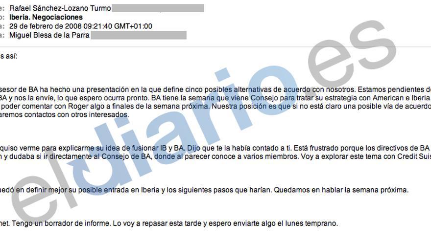 Los correos de Blesa: Iberia. Negociaciones