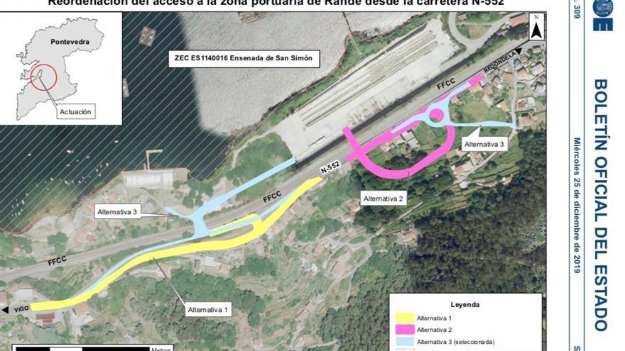 Alternativas propuestas por la Autoridad Portuaria de Vigo para mejorar los accesos a sus muelles de la ensenada de San Simón, espacio protegido de la Red Natura 2000
