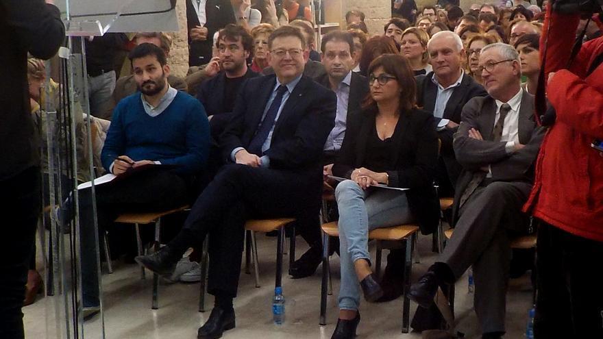 El president Ximo Puig y el conseller Vicent Marzà en la presentació del Pla Valencià de Foment del Llibre i la Lectura