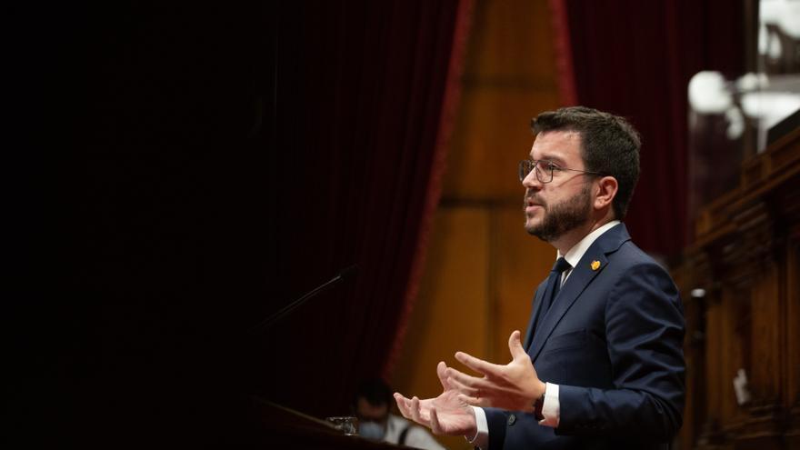 El presidente de la Generalitat, Pere Aragonès, en la réplica a los grupos parlamentarios en el Debate de Política General en el Parlament, el 29 de septiembre de 2021.