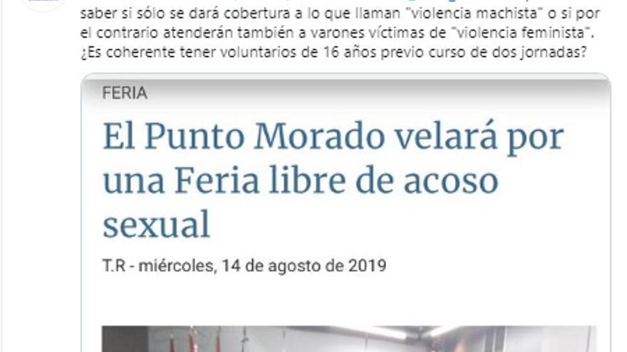 El tuit donde la cuenta de Vox Albacete ataca la puesta en marcha del Punto Morado en la Feria