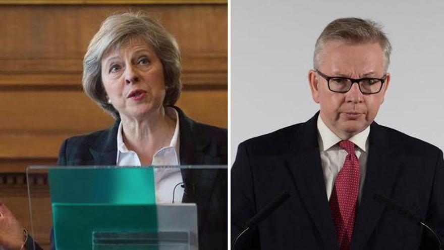 Los candidatos al liderazgo del Partido Conservador británico, Theresa May y Michael Gove.