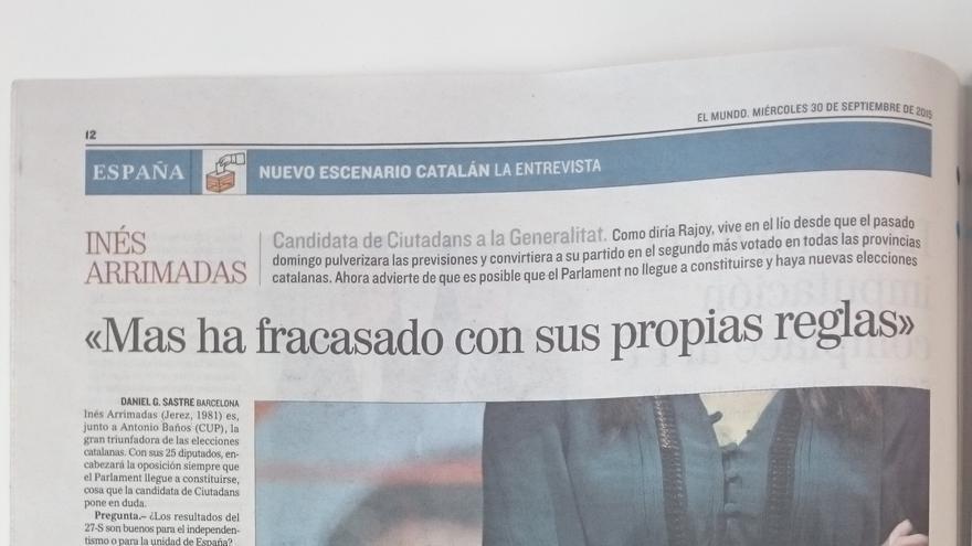 El Cuerpo De Inés Arrimadas Sin Cara Ilustra Su Entrevista En El Mundo