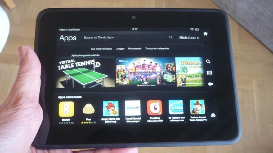 La tienda de aplicaciones del Kindle Fire HD, que no tiene acceso a Google Play