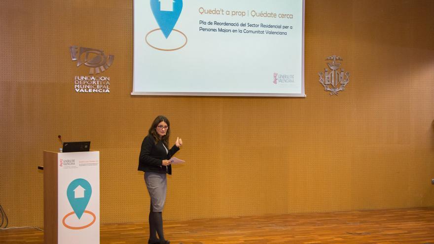 Mónica Oltra, durante la presentación del plan 'Queda't a prop'
