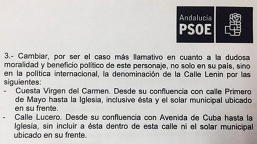 Parte de la moción sobre el retoque del nomenclátor badolatoseño.