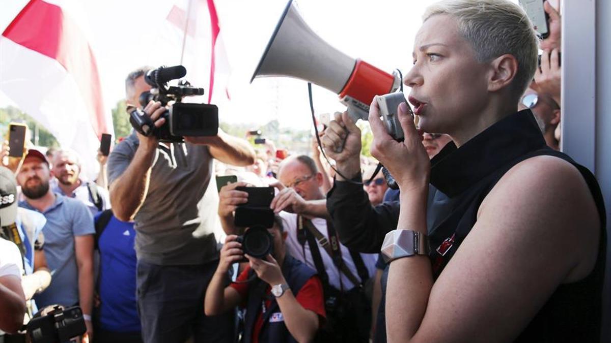 María Kolesnikova participa en una protesta celebrada el pasado 17 de agosto en Minsk.