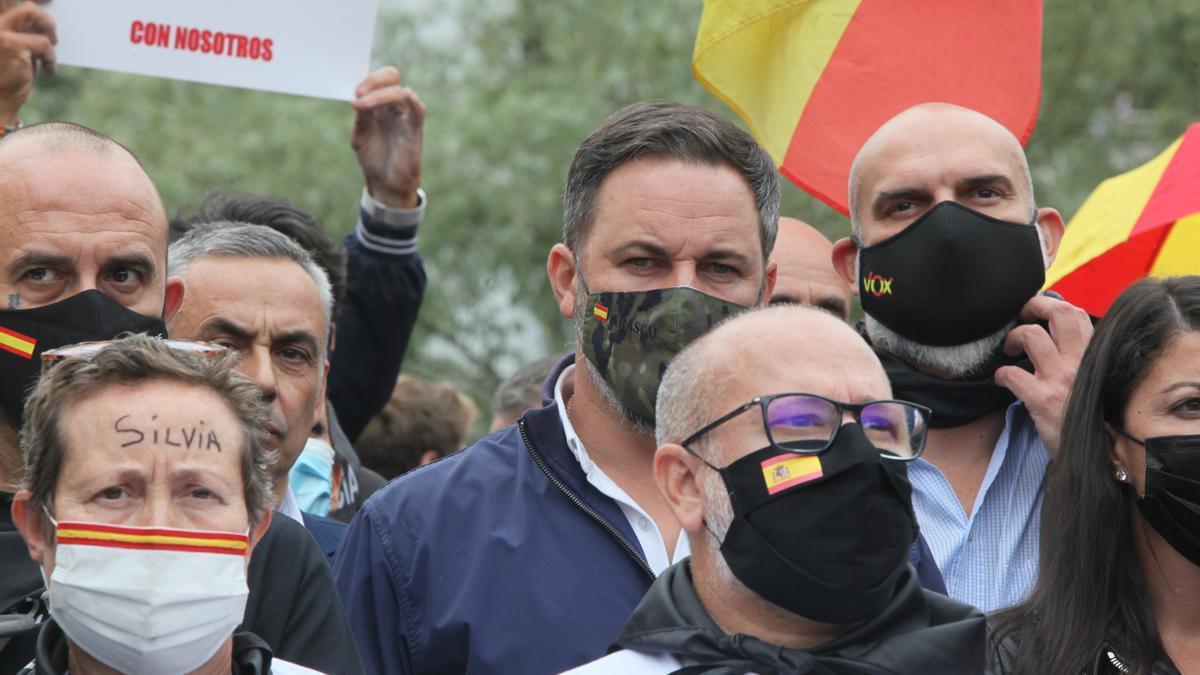 El presidente de Vox, santiago Abascal, durante el acto de desagravio a las víctimas de ETA en Arrasate