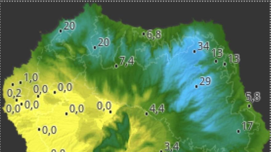 Mapa de HD Meteo La Palma de la lluvia caída, hasta las 17.20 horas de este jueves, 7 de noviembre, en diversos puntos de La Palma.