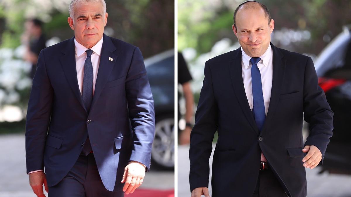 El líder del partido Hay Futuro, Yair Lapid, (izquierda) y el ultraderechista Naftali Bennett, líder de la formación Nueva Derecha.