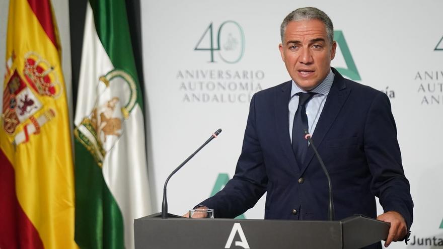 El consejero de la Presidencia, Administración Pública e Interior y portavoz del Gobierno andaluz, Elías Bendodo, en rueda de prensa.