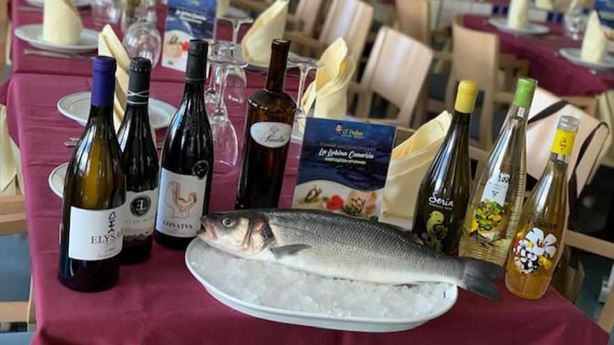 Pescado y vinos de El Padrino.